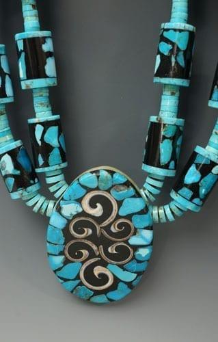 Mary Tafoya turquoise mosaic necklace