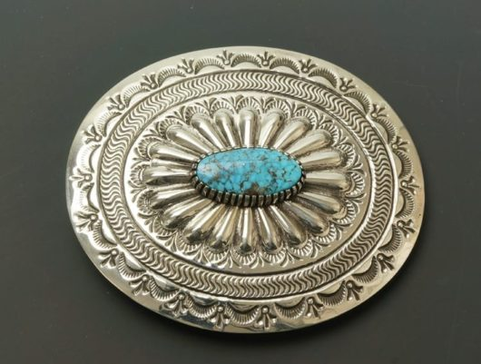 Earl Plummer (Navajo) buckle: sterling silver with natural Kingman turqoise