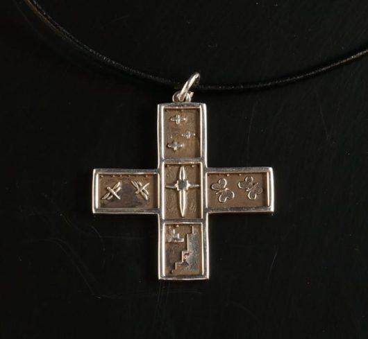 Joe Cajero cross pendant: sterling silver with symbols