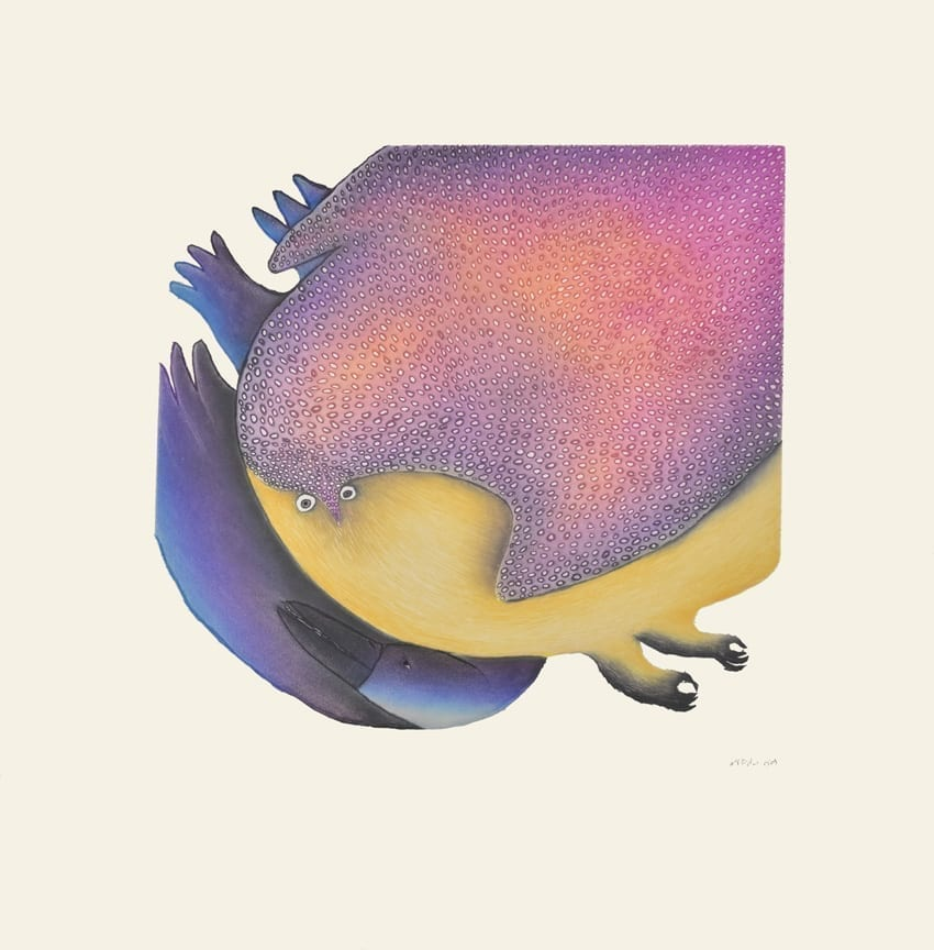 2015 Cape Dorset Prints: Raven Meets the Owl by Ningeokuluk Teevee