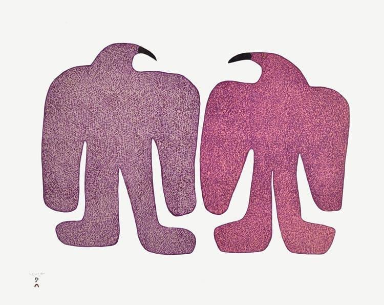 Saimaiyu Akesuk: Courting Birds stonecut & stencil 2015