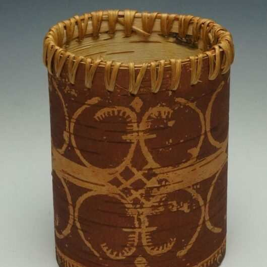 Gina Brooks etched birch bark basket