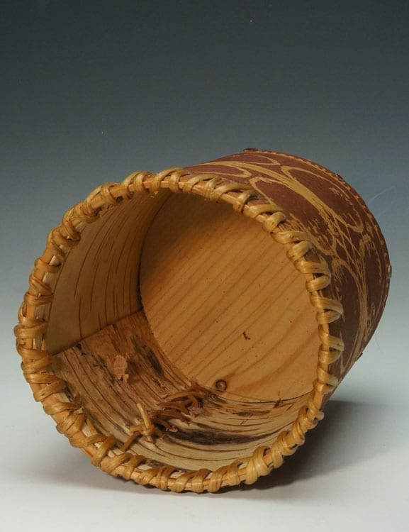 Gina Brooks etched birch bark basket