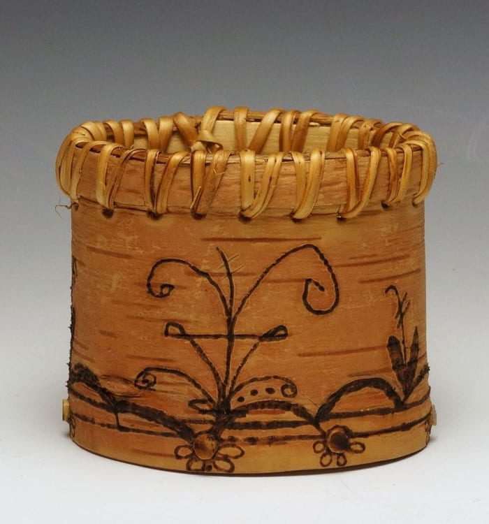 Gina Brooks small etched birch bark basket