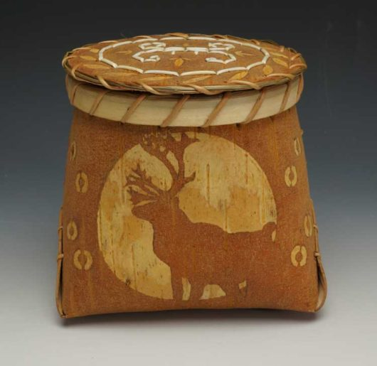 Barry Dana etched birchbark basket