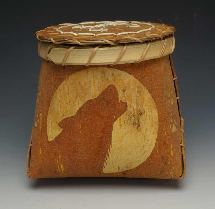 Barry Dana etched birchbark basket