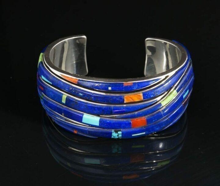 Earl-Plummer-inlaid-silver-bracelet