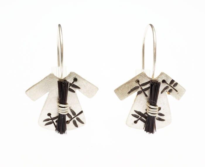 Heidi BigKnife Genetic Memory earrings with dragonflies