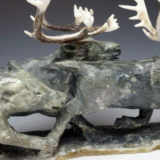 Bobby Nokalak Caribou Wolf tableau