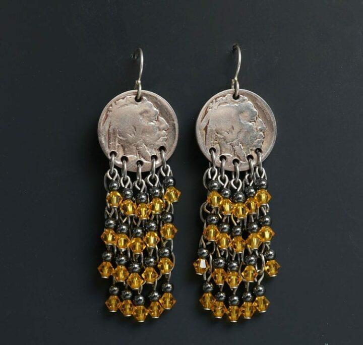 Decontie and Brown Indian Head Nickel Earrings