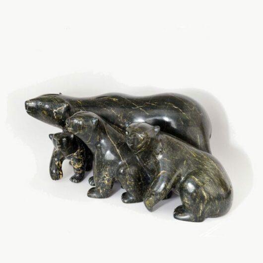 Inuit sculpture Taqialuk Nuna Bear Family