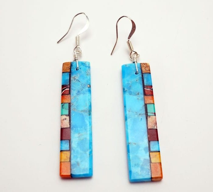 Mary Tafoya Double Side Mosaic Earrings