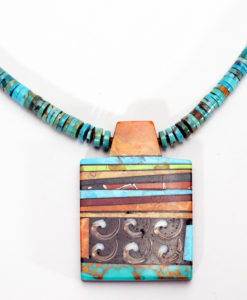 Mary Tafoya Rectangular Mosaic Necklace