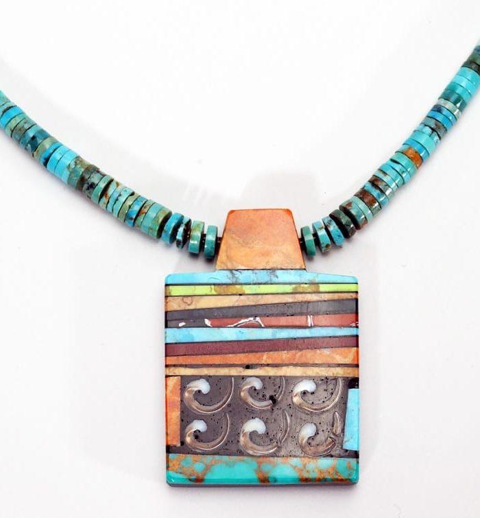 Mary Tafoya Rectangular Mosaic Necklace