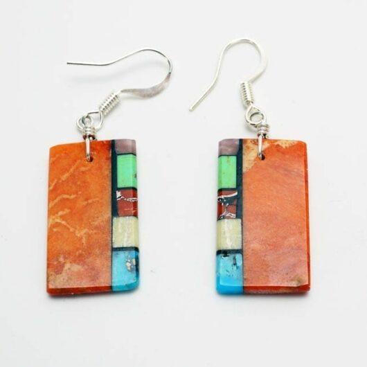 Mary Tafoya side mosaic earrings