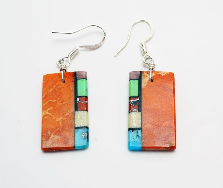 Mary Tafoya side mosaic earrings