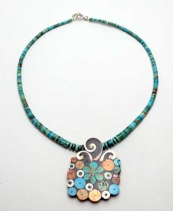 Mary Tafoya Shell and Flower Necklace