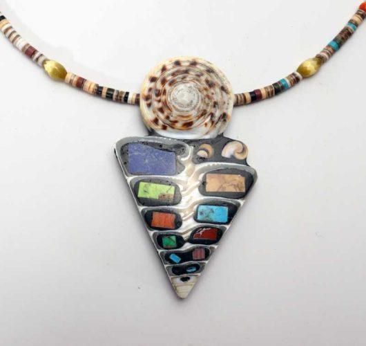 Mary Tafoya triangular necklace with shell