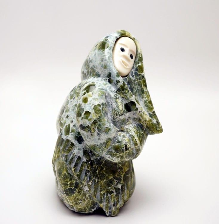 Inuit sculpture Mosesie Aipeelee Kneeling Woman