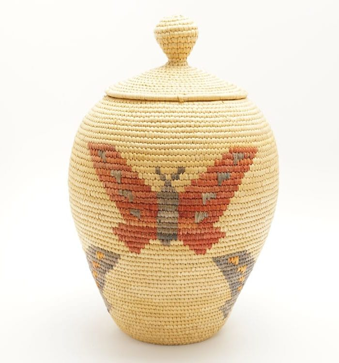 Hooper Bay Basket - red and blue butterflies