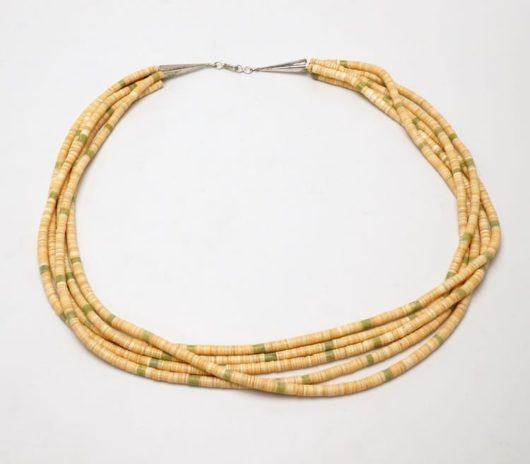 Vintage five strand melon shell necklace
