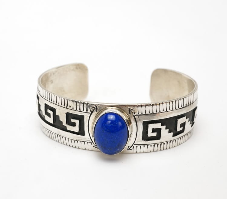 Vintage sterling silver bracelet with geometric shape overlay and lapis lazuli stone