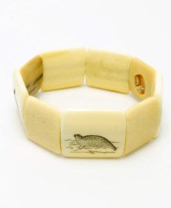 Vintage scrimshaw ivory bracelet