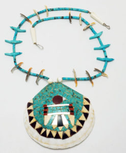 Vintage Santo Domingo thunderbird mosaic necklace