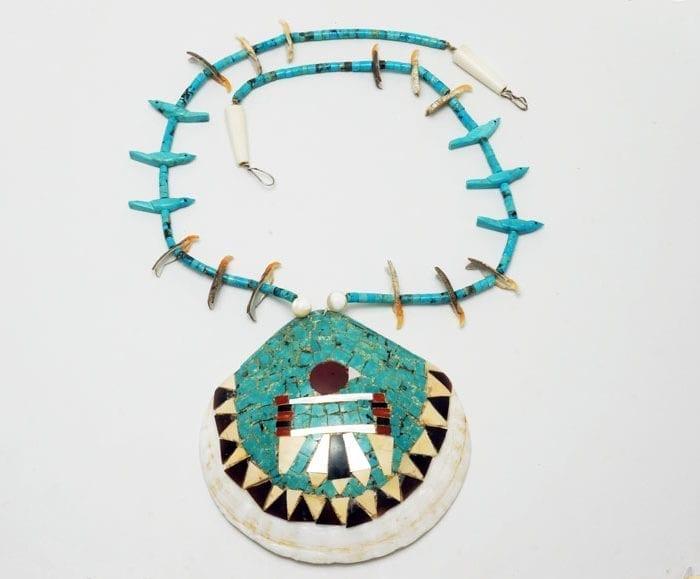 Vintage Santo Domingo thunderbird mosaic necklace
