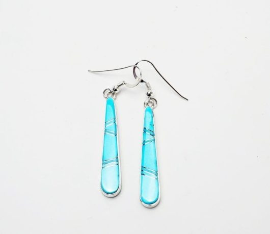 Earl Plummer Long Sleeping Beauty Turquoise Inlaid Earrings