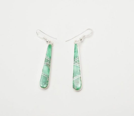 Earl Plummer Long Variscite Inlaid Earrings