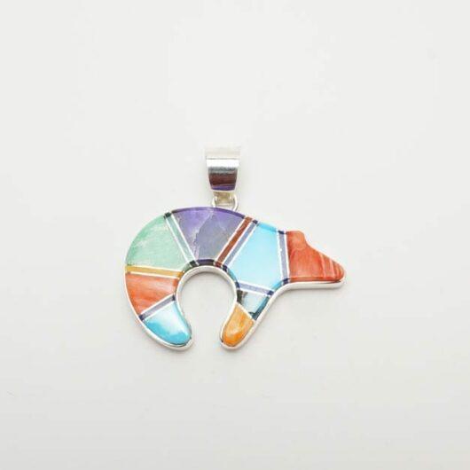 Earl Plummer multi-material inlaid bear pendant