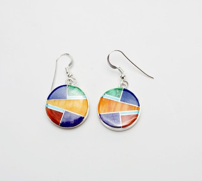 Earl Plummer Round Multi-material Inlaid Earrings