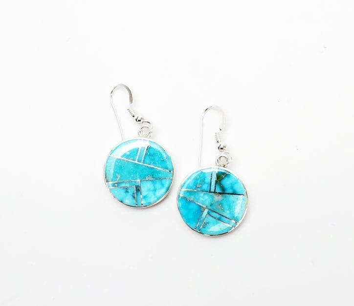 Earl Plummer Round Natural Turquoise Earrings