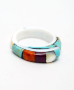 Lorenzo Tafoya inlaid shell ring