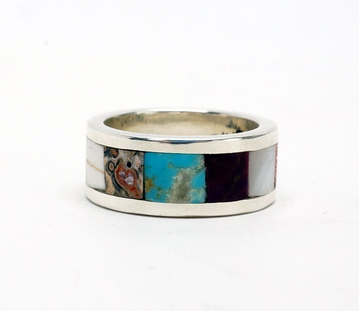 Lorenzo Tafoya inlaid silver ring