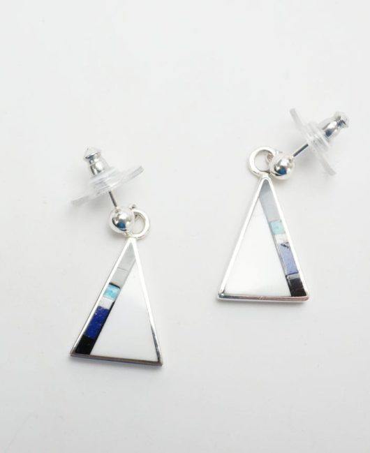 Herb and Veronica Thompson Small Triangular Inlaid Earrings 1
