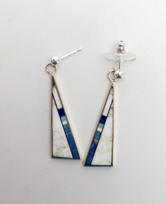 Herb and Veronica Thompson Triangular Inlaid Earrings 1