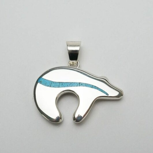 Earl Plummer Sterling Silver Trail Bear pendant - turquoise inlay