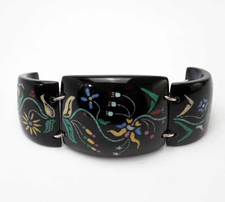 Kevin Pourier Buffalo Horn Floral Cuff Bracelet
