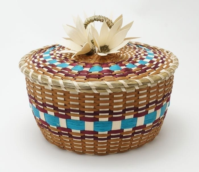 Frances Soctomah colored flower basket
