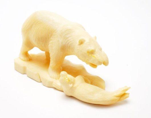 Vintage Eskimo ivory bear/seal