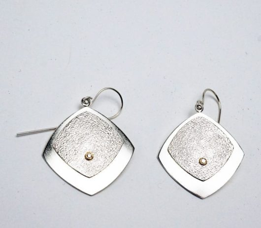 Chris Pruitt sterling silver diamond earrings