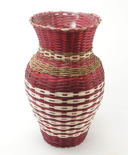 Dolly Barnes maroon basket vase