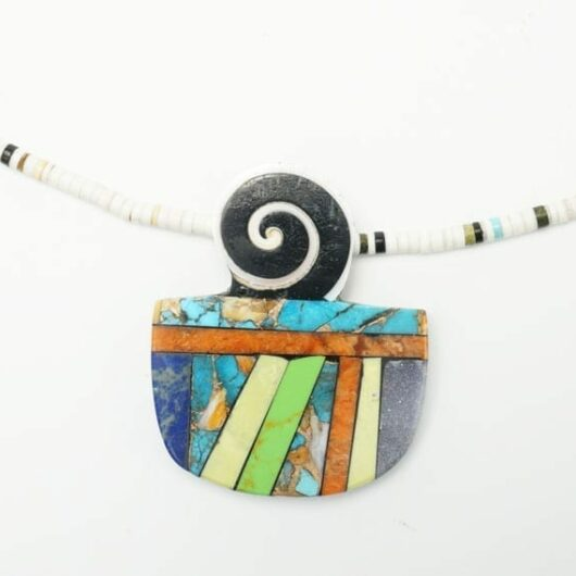 Mary Tafoya necklace - lapis - turquoise - spiny oyster shell - copper
