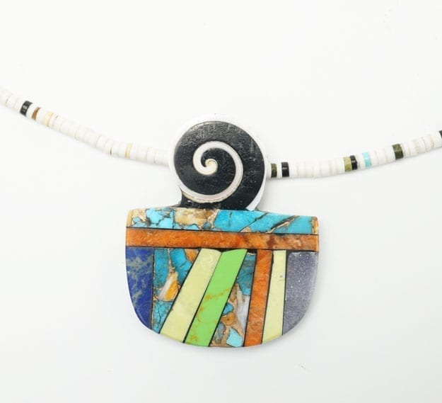 Mary Tafoya necklace - lapis - turquoise - spiny oyster shell - copper