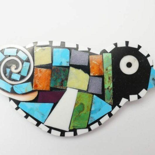 Mary Tafoya Mosaic Bird pendant pin