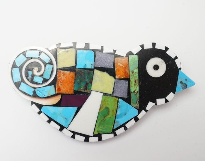 Mary Tafoya Mosaic Bird pendant pin