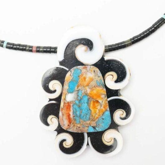 Mary Tafoya necklace turquoise-spiny oyster shell