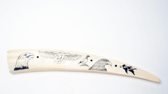 Arnold Olanna scrimshaw tusk